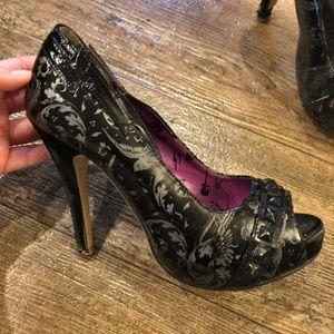 Iron Fist black peep toe stilettos